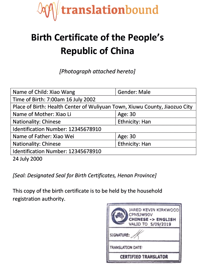Birth Certificates Translation Bound Australia
